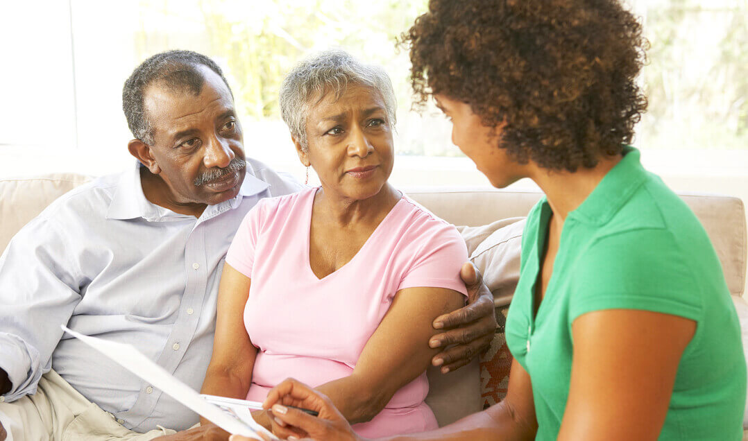 caregiver talking to the elders